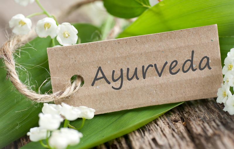 Ayurvedaの文字が書いてある札