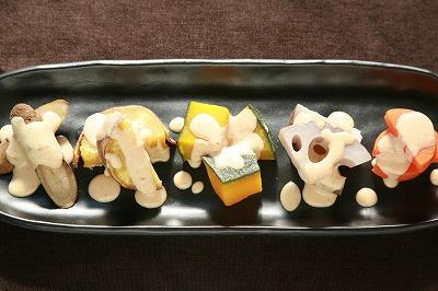 自家製ソイゴマソースの温野菜8