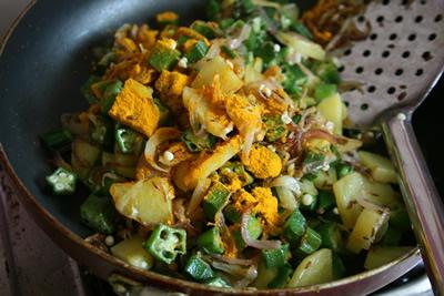 オクラとジャガイモのサブジ&チャパティ 画像9
