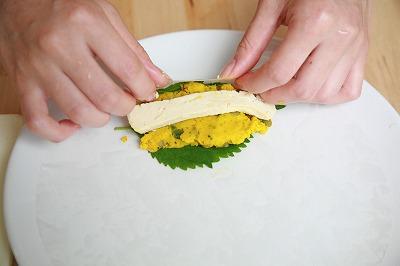 ★おかずにもおやつにも♪豆腐チーズとカボチャのもっちり生春巻き焼き★10