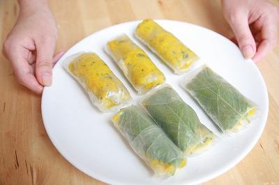 ★おかずにもおやつにも♪豆腐チーズとカボチャのもっちり生春巻き焼き★13