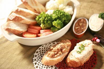 クリスマスパーティを盛り上げよう♪二種のディップとバゲット&温野菜8